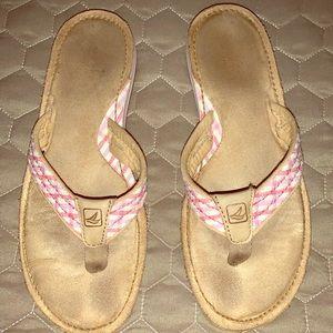 Pink Plaid Sperry Flip Flops